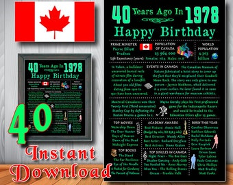 1978 - 40th Happy Birthday Chalkboard, CANADIAN Gift, CANADA Facts, 40 Green Poster, Instant Download, Printable Digital Files (#8401.d3)