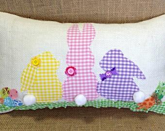 Easter Bunny Pillow, Easter Pillow, Easter Decoration, Easter Decor, Easter Bunny, Easter Gift, Burlap Easter Pillow, Easter, Burlap Pillow