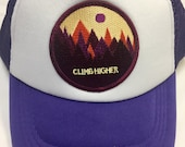 Girls Trucker Toddler/Kids Trucker Hat- Purple with Cli...