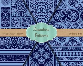 "Blue Scrapbook Paper: ""Blue Seamless Patterns"" blue digital paper, seamless digital paper, blue patterns, blue backgrounds, blue damasks"