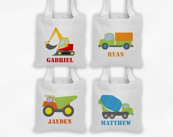 Construction Vehicles Mini Tote Personalized Party Favor Bags - Set of 4 Custom Gift Bags - Reusable Tote Bags with Dump Truck, Excavator