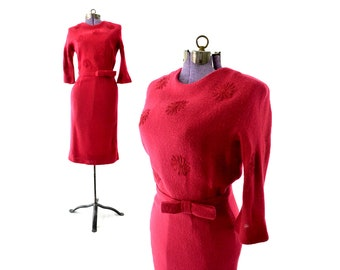 Red 1950s Dress, Wool Dress, Red Dress, 50s dress, winter, fall, long sleeve, pinup, retro, wiggle, pencil, Women Clothing, Vintage Clothing