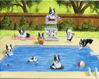Boston Terrier Pool Party art print by Brian Rubenacker