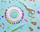 Sewing kit- scissors- stock scissors- pins- rainbow- needle threaders- haberdashery- sewing- heart pin