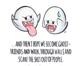 Super Mario Boo Ghosts BFF Print