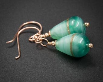 Venetian murano glass earrings genuine Venetian Murano glass and rose gold earrings aqua gold glass earrings venetian glass jewelry