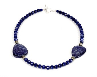 """Sheba - 19.5"""" necklace of lapis lazuli, pyrite and sterling silver"""