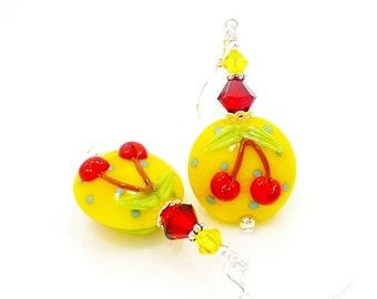 Yellow Earrings, Red Cherry Earrings, Lampwork Earrings, Glass Earrings, Glass Bead Earrings, Bright Earrings, Colorful Earrings