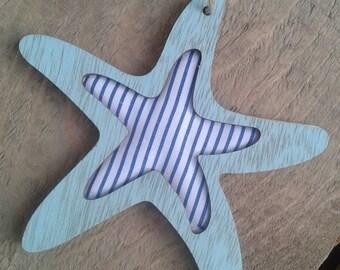 Sea star, light blue star, textil star, wood butterfly, handcraft star, wood pendant, wood supplies, handcraft supplies, home decor supplies