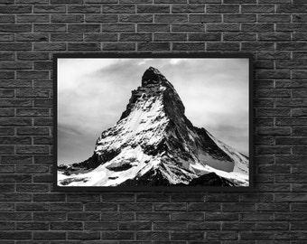 Black White Mountain Photography - Nature Photography - Black and White - Mountain Landscape - Mountain Wall Art - Black White Wall Decor
