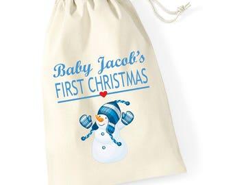 Personalised Snowman Hug Babys First Christmas Santa Sack Reindeer Xmas Present Stocking Drawstring Keepsake Tumblr Pintrest