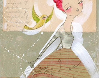 Girl and bird Art Print  of a watercolor painting - making magic - a 5 x 10 inch limited edition - archival print - by cori dantini