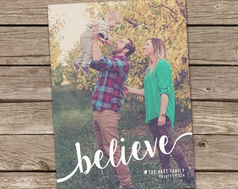 Photo Christmas Card : Believe, Merry, or Blessed Christmas Custom Photo Holiday Card Printable