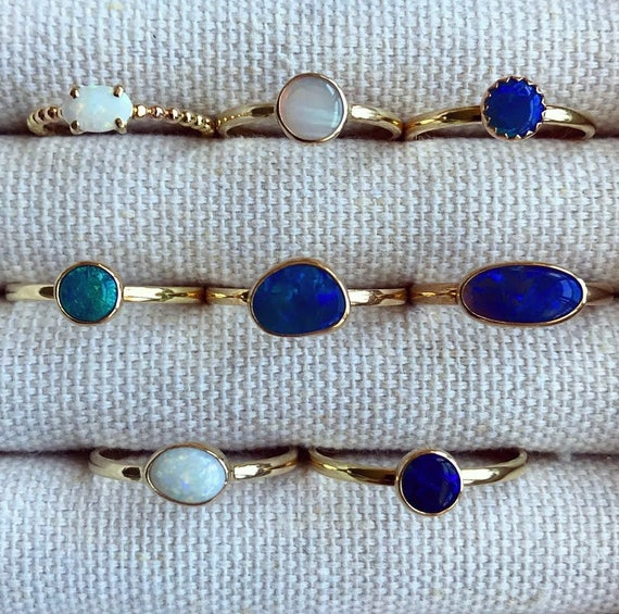 SALE: 14K yellow gold rings with Australian opals