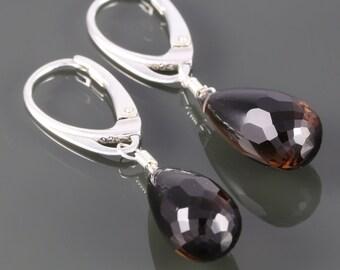 Smoky Quartz Drop Earrings. Sterling Silver. Lever Back Ear Wires. Genuine Gemstones. f16e053