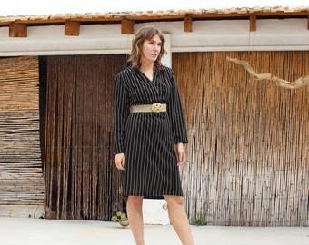 Vintage 80s sheath pinstripe dress