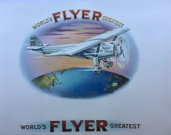 World's Greatest Flyer -  Spirit of St. Louis - Charles Lindbergh - Inner Cigar Label - Commemorative of Famous 1927 Lindbergh Flight - NOS