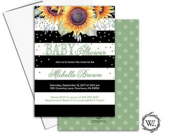 Fall baby shower invitation, sunflower baby shower invitation, autumn black white baby shower invite green, printable printed - WLP00651
