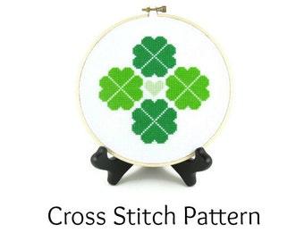 Shamrock Four Leaf Clover St. Patrick's Day Cross Stitch Pattern