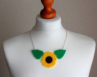 Collier tournesol acrylique
