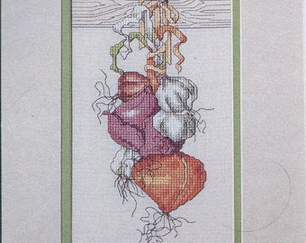 Hanging Vegetables Cross Stitch Pattern - Onion Cross Stitch - Garlic Cross Stitch - Kitchen Decor Pattern
