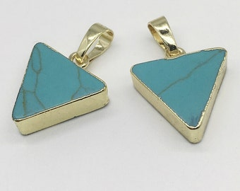 2pcs Gold Electroplated Turquoise Triangle Pendant ,20mm*18mm Howlite Turquoise Charms