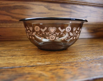 Clear Brown Pyrex Forever Yours Nesting Bowls - set of 3
