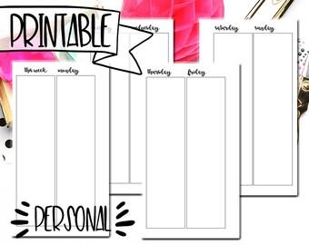 Minimalistic Week on 4 Pages - Personal Planner Printable Insert - Digital Planner Download - Medium Size Printable Inserts - WO4P Planner