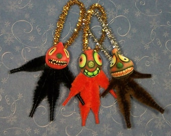 Chenille Halloween Ornaments, May be  Haunted, Primitive,  Vintage Style (14)