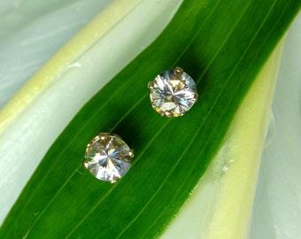 Herkimer Diamond Earrings. Gold Earrings, White Gemstone Earrings, Gold Stud Earrings, Herkimer Earrings, Gold Gemstone Earrings, 14k Gold