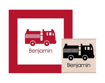 Fire Truck Personalized Rubber Stamp