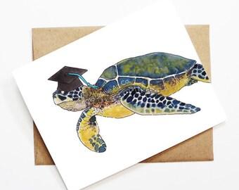 Graduation Card - Turtle, Grad Card, College Graduation, High School Grad, Congrats Grad, Congrats Card, Cute Animal Card, Turtle Card