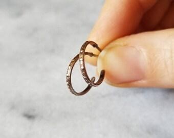 Small sterling silver bead textured hoop earrings