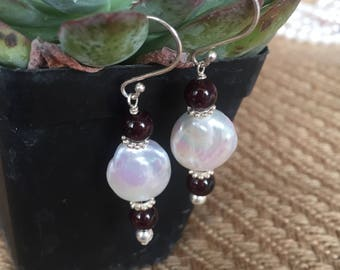 Coin Pearl & Garnet Silver Earrings