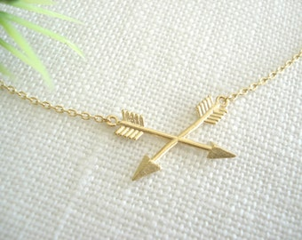 Friendship Necklace...Gold crossed arrow for best friends, bridesmaid gift, simple everyday, bridal wedding jewelry