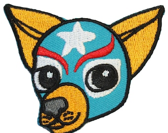 Chihuahua Iron On Patch Embroidery Sewing DIY Customise Denim Cotton Cute Luchador Lucha Libre Mexican Wrestler Mexico Dog Lover