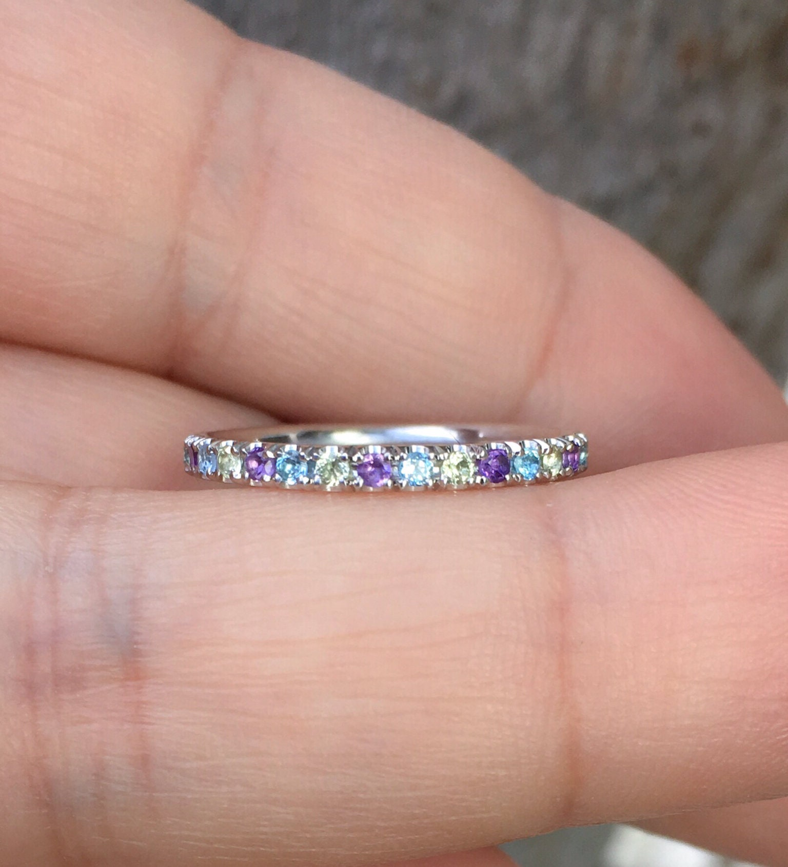 Full Eternity Amethyst Blue Topaz Peridot Pave Band 2mm Alternating ...