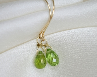Gold gem earrings with peridot briolettes gold earrings with Peridot Briolett