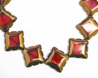 8pc 17mm copper plated  square shape glass beads-9153