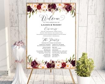 Printable Burgundy Wedding Program Board Sign Template, Editable Pink Floral Program Poster, DIY Welcome Sign, 3 Sizes Download PDF #101