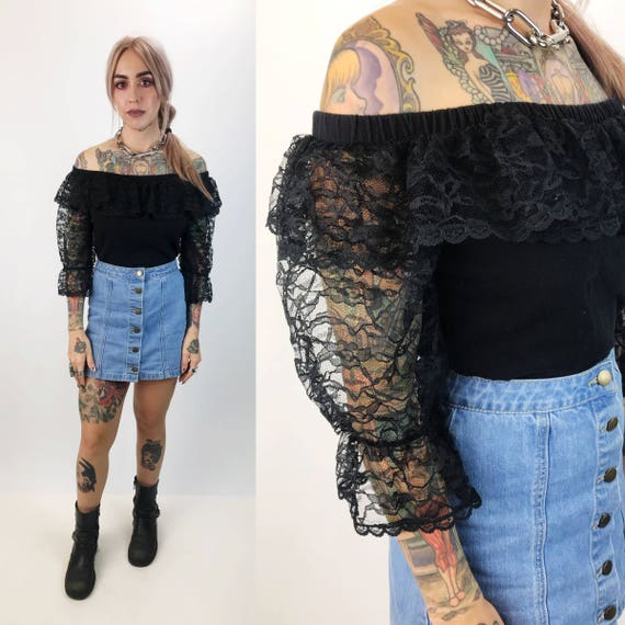 80's Black Lace Off The Shoulder Sheer Crop Top Medium/Large - Black Lace Bohemian Goth Crop Top - Black Ruffle Neck Lacey Boho VTG