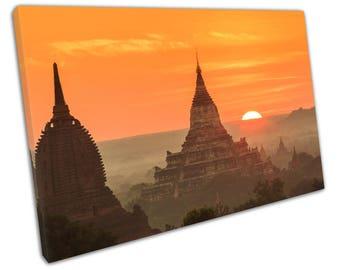 print on canvas Temple Bagan Mandalay Region of Myanmar Burma orange sunset art - X1462