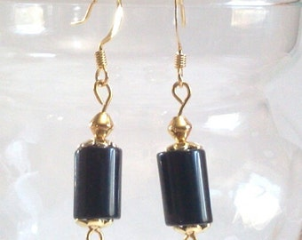 Black Stone Tube Bead Dangle Earrings with Fish Hook Earwires, Black and Gold Jewelry
