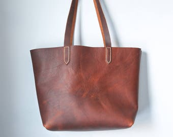 Leather Tote - Everyday Tote - Leather Tote Bag - Market Bag - Brown Tote Bag Leather - Leather Laptop Bag - Handmade Tote - Leather Handbag