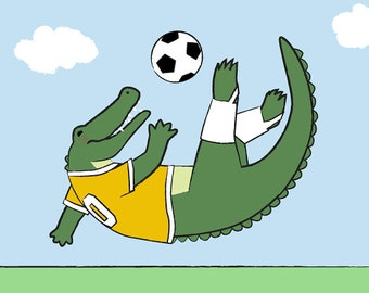 Alligator Nursery Decor - Soccer Kids Wall Art - Crocodile Children's Art