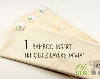 Bamboo insert - Set of 1 - Regular - Trifold - 2 layers - Cloth Diaper Insert - Pocket Diaper - Ready to ship - Doublers - Eco friendly