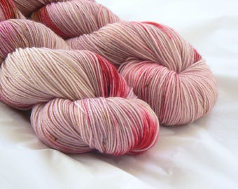 Paper Roses - Hand dyed tonal speckled sock yarn - Merino Nylon - Pink Red Brown