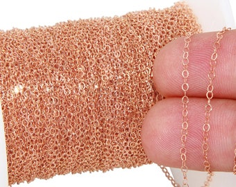 1 FT 1.6x1.9 mm 14K Rose Gold Filled Flat Small Cable Chain (RGF1018F)
