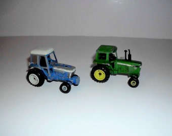Vintage toy Tractor, John Deere Tractor, Ford Tractor, set of 2, vintage diecast toy tractor VT5084