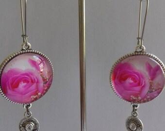 glass flower cabochon earrings